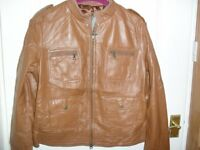 NEW Tan Leather Bomber Style Jacket - Size 12