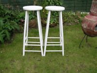 SOLID WOODEN VINTAGE RETRO SHABBY CHIC BREAKFAST BAR KITCHEN STOOLS GLOSS WHITE