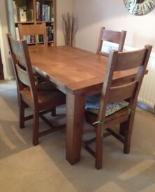 Oak Dining Table & 4 Chairs - FOR SALE