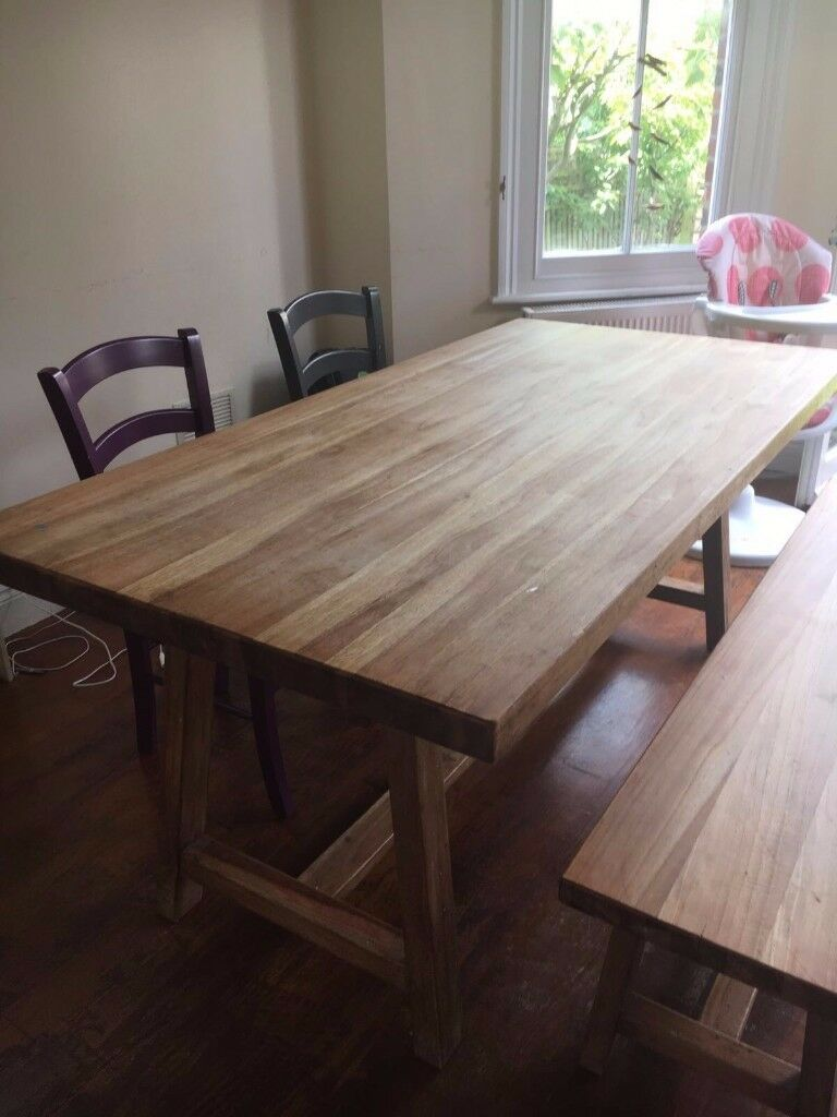Laura Ashley Wooden Table Bench And Habitat Chairs