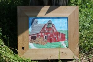 Antique Barn painting by Ethan Seely With Wooden Frame!
