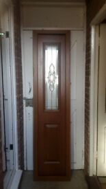 2 double glazed front door panels - brown exterior / white interior