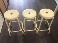 3 x metal stools /seats