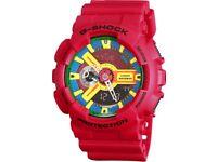 Casio G-Shock Watch Red Resin Band Analog Digital Men's Sport G-GA110FC-1A Red