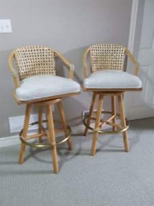 McGUIRE BAMBOO SWIVEL BAR COUNTER STOOLS (SET OF 2) MUST GO ASAP