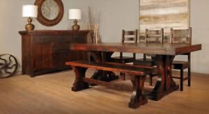 Rustic Solid Maple Dining Table & Chairs
