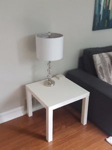 Metal & Glass Lamp with White Lampshade