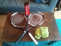2 x Tennis Racquets, balls and carry bag