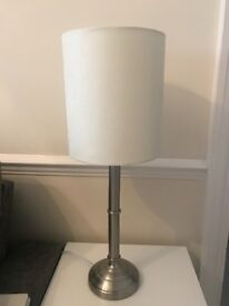 Silver table lamp with cream shade