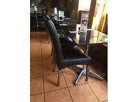 20 black leather and solid oak wood restaurant chairs