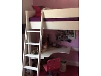 White loft bed and desk