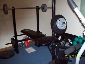 Workout Center, extra weights... bars, etc LIKE NEW