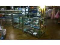 glass display cabinets shelve chrome retail 30 x 49 x 40 inches high