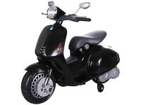 PREDATOR VESPA STYLE 12V ELECTRIC KIDS RIDE ON SCOOTER WITH STABILISERS - BLACK