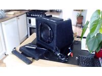 Alpine SWE-815 8 inch active subwoofer with all leads and covers