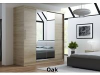 Clerance BRAND NEW Two Sliding Doors Wardrobe with Mirror ,Oak, Dark brown