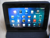 BlackBerry PlayBook 64GB, Wi-Fi, 7in - with black stand/case & black slip case, notipad, samsung tab