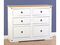 New White or Grey Corona 6 drawer chest £225 white only in store