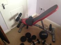 Bench,weights,medicine ball