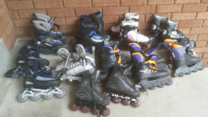 Many Rollerblades (kids snd adult sizes)