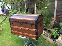 Vintage large steamer luggage box great warm colour