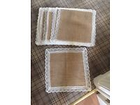 9 Hessian Mats with lace trim