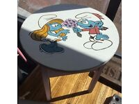 A Beautiful Smurfs Desk, Perfect For a Child, Laser Engraved And Hand Painted
