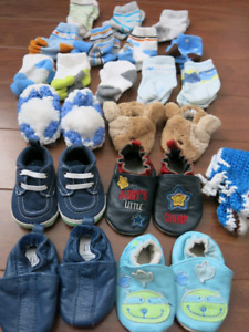 Baby boy shoes (The Gap, Joe, etc.), slippers, and socks