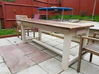 6ft 6 Large Solid Wood Rustic, Farmhouse Kitchen Table With Drawers