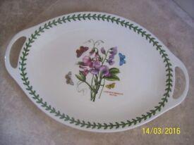 "New & Boxed Portmeirion Botanic Garden Oval Platter (with Handles) 18"""