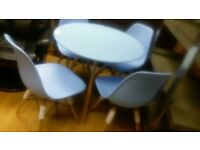 Eames Round Poly and Wood Blue Dining table & 4 chairs