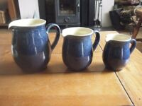 3 BOURNE DENBY COTTAGE BLUE JUGS,..1 PINT , 1/2 PINT & 1/4 PINT... PERFECT CONDITION