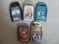 Five sets of Movie themed Top Trump cards