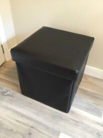 Black Faux Leather Folding Storage Footstool / Ottoman