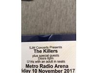 Seated Killers ticket x 1 Metro Radio Arena 10 November 2017