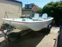 SOLD SOLD SOLD Dell Quay Dory Boat 20hp 2 stroke and galvanised Trailer 13' New wheels and Bearings