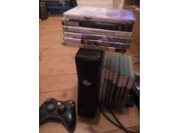 Xbox 360 slim console and games