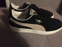 Black and Beige puma suede trainers