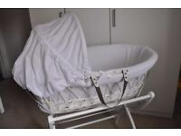 Gorgeous Izzywotnot Moses Basket & Stand-Excellent Condition