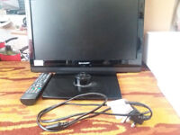SHARP LCD 19 INCH COLOUR TV. BOXED. USED. £59 ONO