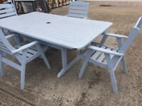 Suncoast Sitra solid wood garden table and 4 chairs
