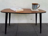 Mid Century retro vintage mini coffee table, 1960s teak top with splayed black ebonised legs