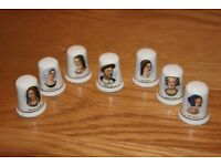 THIMBLES COLLECTIBLE BONE CHINA HENRY Vlll & HIS SIX WIVES