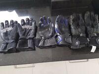 3 SETS OF MOTORBIKE GLOVES, 1 WINTER PAIR & 2 LEATHER.