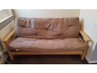 Solid Wood Kyoto 3 Seater Futon with Double Layered Mattress/Cushion