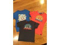 Three boys Animal t-shirts aged 3-4 years