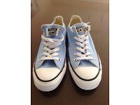 Girls Converse size 5 1/2 light blue never worn