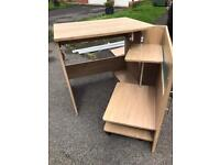 Closing computer desk - oak effect - free to collect
