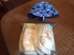 Baby sunhat and diapers