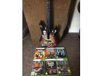 Wireless Guitar hero guitar for Xbox 360 with games bundle